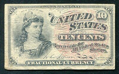 Ten Cents Fourth Issue Fractional Currency Note Very Fine