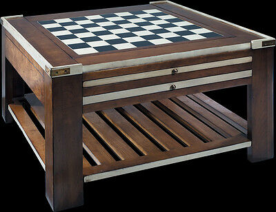 Wooden Multi Coffee Table Ivory Chess Board Checkers