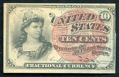 Ten Cents Fourth Issue Fractional Currency Note Very Fine (B)