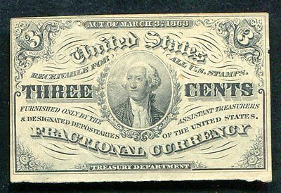 Fr. 1226 3 Three Cents Third Issue Fractional Currency Au