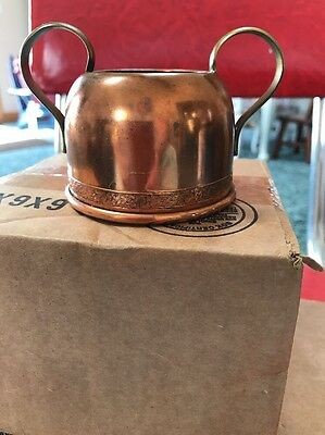 "Copper Sugar Bowl 3"" With Handles And Scrolling"