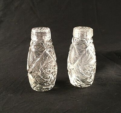 Vintage Cut Glass Salt & Pepper Shakers
