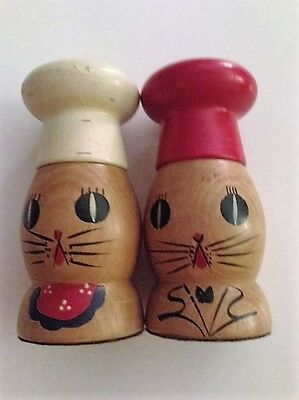 Salty and Peppy Wooden Cat Salt and Pepper Shakers-Vintage