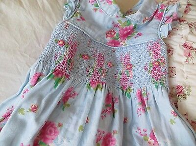 Laura Ashley Girl's Smocked Blue Pink Floral Dress Size 3T EUC