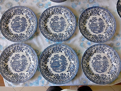LOT 6 assiettes CHURCHILL STAFFORDSHIRE MADE IN ENGLAND TABLEWARE paysage