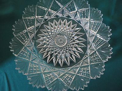 Vintage Cut Glass Candy Serving Dish Plate