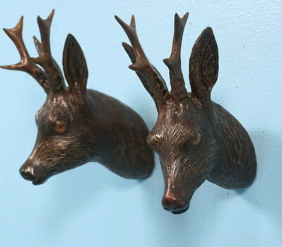 2 Antique German Black Forest Wood Carvings Roebuck Stag Head Wall Plaque c1920s