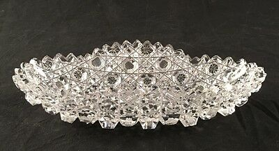 """Vintage Cut Crystal Candy / Serving Dish Oval 8"""""""