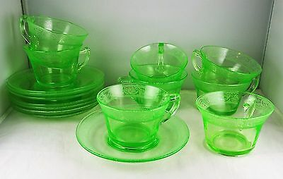 Eight Cambridge Glass Apple Green Florentine Cup & Saucer Sets