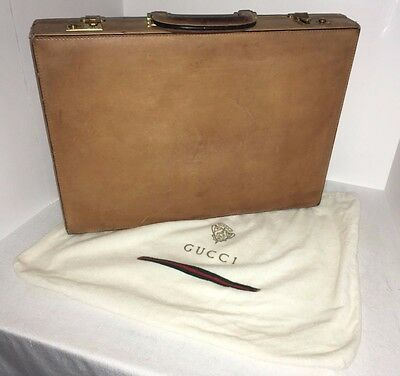Gucci Vintage Tan Leather Attache Briefcase Original Dust Bag Made In Italy