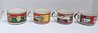 Set of 4 Tabasco Soup Mugs Bowls Oysters Collectible Antique Labels from 1900s