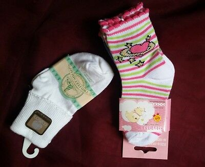 New baby girls socks size 1-3. 3 pair print, 1 pair white