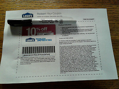 FIVE Lowes 10% OFF-Coupons - - Expires  8/31/17!!!!!