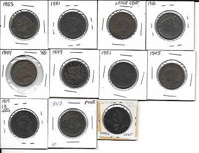 Lot Of 11 Us Large Cents See Scans