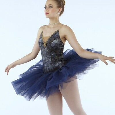 NWOT VELVET GOLD TINTED Navy BALLET COSTUME SHORT ATTACHED TUTU Petite