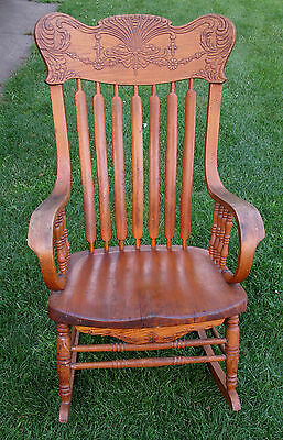 Old Attractive Rocking Chair Carved Wood Rocker Wooden Vintage Antique Rare!