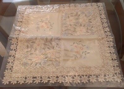 Vintage Style Cream Floral Embroidered Cushion Cover ~ New