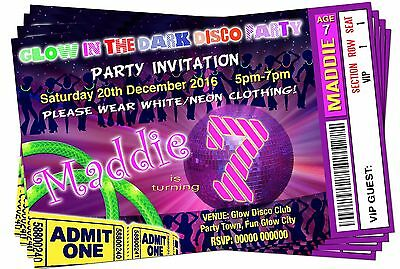 BIRTHDAY PARTY INVITATIONS Disco Glow In The Dark Pink Purple Ticket Style