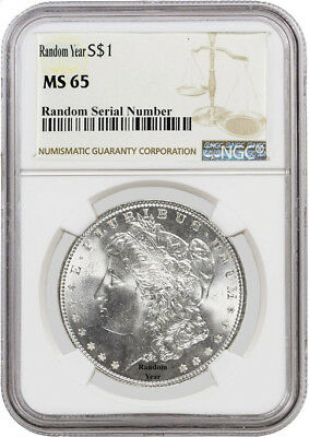 Random Year (1878 - 1904) $1 Morgan Silver Dollar NGC MS65