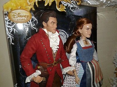 Disney Store Live Action Film Beauty and the Beast Belle & Gaston Doll Set NRFB