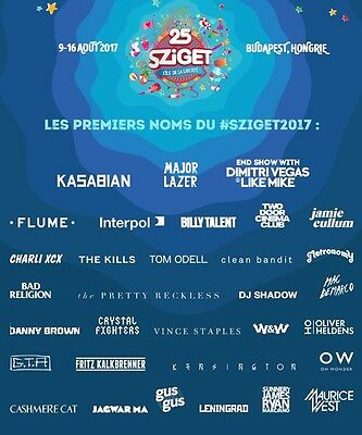 1 x 7 Day Camping Ticket Sziget 2017