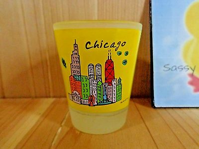 Souvenir Shot Glass CHICAGO Illinois Skyscrapers Heart Yellow Frosted