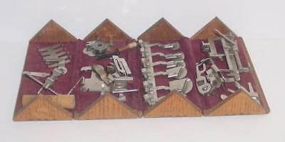 Nice Antique 1889 Oak Puzzle Dovetail Wood Box & Sewing Attachments Lot