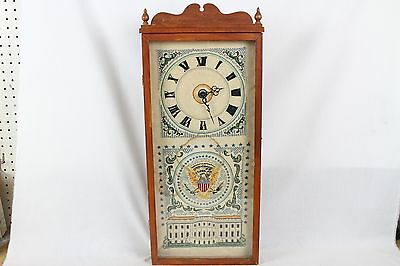 Vintage Cross Stitched Sampler Wall Clock White House USA Antique Rare Eagle Old