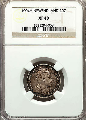 *** Ngc *** Canada Newfoundland 20 Cents 1904 One Year Issue! *** Xf40 *** Rare!