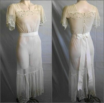 Ivory Floral Embroidered Cotton Net Bobinette Edwardian Era Dress With Silk Sash