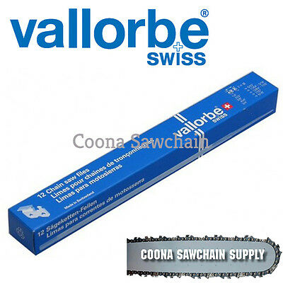 12x Vallorbe 7/32 (5.5mm) Round Chainsaw Files (3/8 & 404)