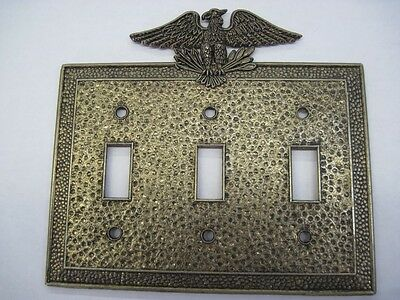 Vintage American Eagle Hammered Brass 3 Gang Switch Plate Cover