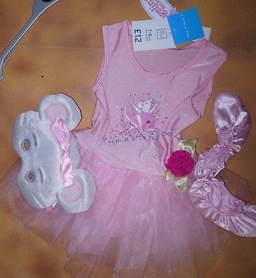 NWT Angelina Ballerina Tutu Costume w/Mask & Shoes Size int age 7-8 up to 4'tall