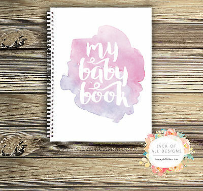 Baby Record Book - Girl - Watercolour Splashes