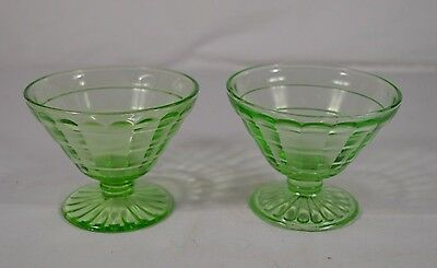 Pair of 2 Anchor Hocking Green Depression Glass Sherbets - Block Optic Pattern