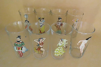 Set of 8 1940's Vintage Peek a Boo Glasses Old Risque Girlie Pin Up Nude Glass