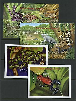 Central Africa 2001  #1394-7  snakes, frogs, turtles  sheets MNH   K704