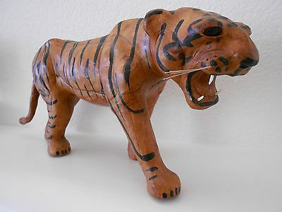 Vintage Bengal Tiger Sculpture Figurine Leather Covered Papier-Mâché HUGE 17""