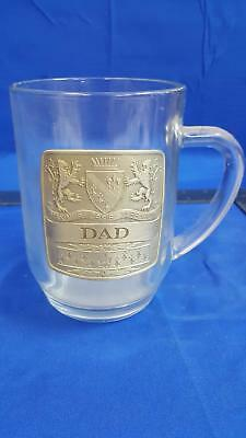 Clear Glass Beer Stein Mug With DAD Embossed Pewter Logo