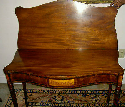 Antique American Federal Portsmouth Card Table W/flame Birch Antique Circa 1810