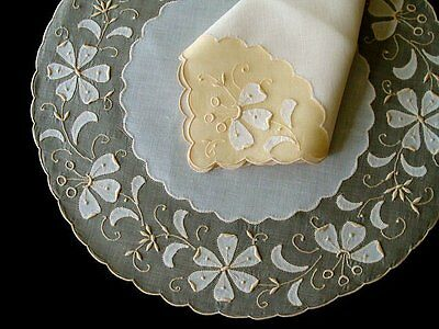 GORGEOUS Vintage MADEIRA Linen Organdy Placemats ROUND Hand Embroidered PRISTINE