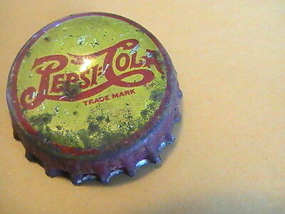 Pepsi Cola Soda Bottle Cap Yellow and Red Late 1940's Cork Used