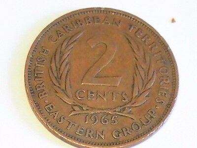 British Caribbean Territories Eastern Group 1965 2 Cents Queen Elizabeth Coin