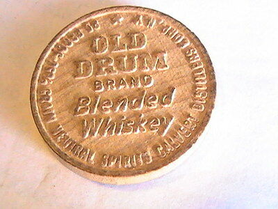 Vintage Old Drum Whiskey Wooden Nickel token - Old Drum Whiskey Wood Nickel Coin
