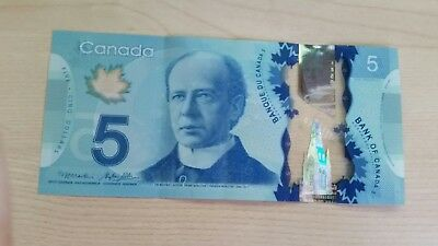 Canadian $5 Dollar Bank Note Polymer Bill HCD3157616 Circulated 2013 Canada