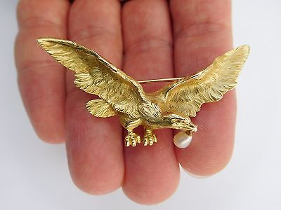 Rare AmaZing French Art Nouveau 18K Gold Flying Eagle Watch Pin Pendant Brooch !