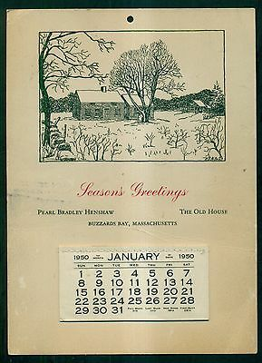 1950 Buzzards Bay,MA - The Old House/Pearl Bradley Henshaw Hanging Calendar