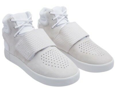 Adidas BA9370 Big Kids Tubular Invader J Strap Suede Off White Sneakers 5 7 NEW