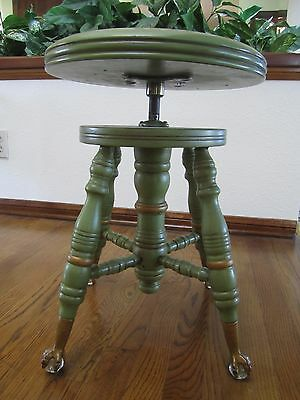 """""""Vintage"""" Wood Piano Stool: Claw Foot with Glass Ball Feet Adjustable Seat"""