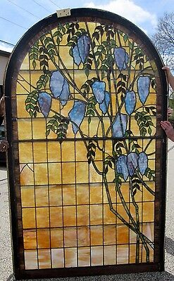 """Special Shipping Deal !  Monumental 94.5"""" Wisteria Antique Stained Glass Window"""